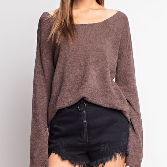 CASUAL DOLLZ Light Knit Brown Long Sleeved…